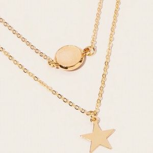 Rose Quartz Gold Star Dainty Layered Necklace